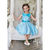 Платье нарядное бирюзовое с изысканным узором Ариадна