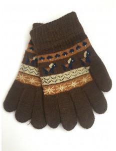 Перчатки осенние коричневого цвета с изображением пони
