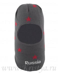 Шапка-шлем для мальчиков коричневый с красными звездами ЛЕШКА