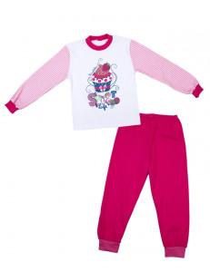 Пижама для девочек с длинным рукавом малинового цвета пирожное