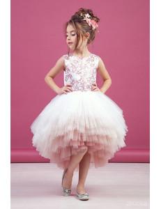 """Платье нарядное пудрового цвета с асимметричной многоярусной юбкой  """"Gradient"""""""