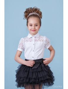 """Блузка белого цвета с коротким рукавом и кружевом """"Милашка"""""""