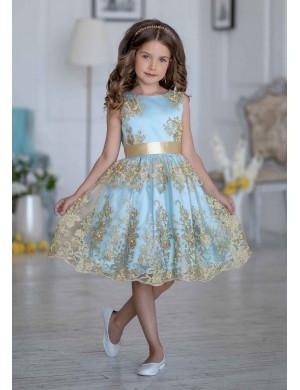 Платье нарядное голубое с вышивкой золото Царина